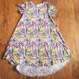 LuLaRoe Funky Pattern Carly Style Dress w Pocket